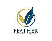 Feather Logo Icon Design Vector