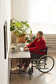 Female Wheelchair User at Home Workplace
