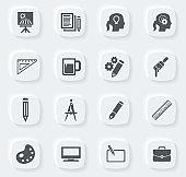 Creative process icons set