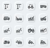 Construction transport icons set