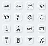 Car shop icons set