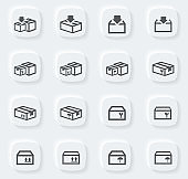 Simple icons set of box