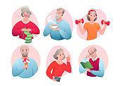 Cartoon round avatars of active old character doing sport exercise, knitting, networking, eating ice cream, drinking tea, reading book. Senior people activity vector illustration set.