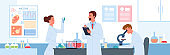 Cartoon scientist characters develop vaccine for coronavirus, holding lab analysis in test tube. People work in vaccine development science laboratory vector illustration.