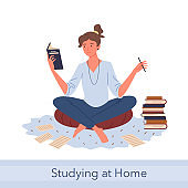 Distance study self education, knowledge concept with young happy woman student reading