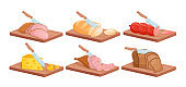 Cut food ingredient for lunch or breakfast sandwich isometric slices and slicing knife