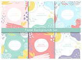 Abstract pastel patterns, cute lines circle blob geometric shapes set, creative collage