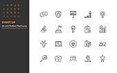 set of start up thin line icons, business