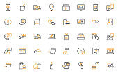 set of food delivery thin line icons, restaurant, order, fast food, take away