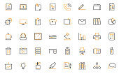 set of office thin line icons, company, workplace