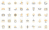 set of summer thin line icons perfect pixel 64x64, beach, sea, vacation