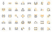 set of business people thin line icons, meeting, team, management, human resource
