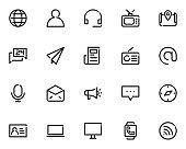 set of contact line icons, communication, address
