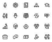 set of job line icons, cv, hr, job interview
