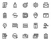 set of tax line icons, finance, fee, discount