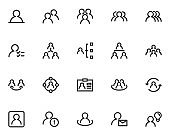 set of users thin line icons