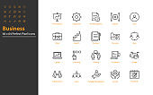set of business thin line icons 64x64 px, management, business people, organization