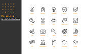 set of business thin line icons 64x64 px, managment, business people, organization