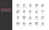 set of business management thin line icons 64x64 px