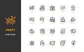 set of celebration thin line icons, party, birthday, festival