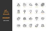 set of dessert thin line icons, cake, sweet, bakery