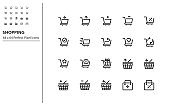 set of shopping line icons 64x64px, shopping cart, commerce, online shopping, online store