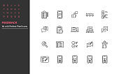 set of feedback thin line icons, review, customer service, survey