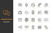 set of communication thin line icons