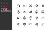 set of world thin line icons, globe, global, internet, communication