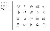 set of eco thin line icons perfect pixel 64x64, environment, nature, save the world