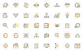set of business management thin line icons, organization, process, planning, working