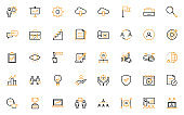 set of business thin line icons, management, office, work, project