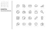 set of essential thin line icons, app, business, communication, social media