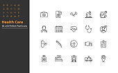 set of healthcare thin line icon perfect pixel 64x64, online healthcare, hospital, doctor