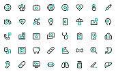 set of health care line icons, hospital
