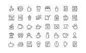 set of coffee thin line icons, coffee bean, hot coffee, ice coffee, drinks