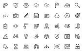 set of business thin line icons 64x64 px