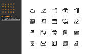 set of business line icons 64x64px, office, job, company, workplace