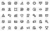 set of project management thin line icons, business, planning, startup