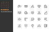 set of business thin line icons perfect pixel 64x64, management