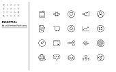 set of essential line icons, multimedia, app