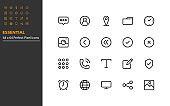set of essential line icons 64x64px, app, web, social media