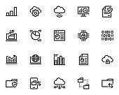 set of data analysis line icons, database, cloud server