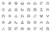set of business people thin line icons, meeting, team, mangement, human resource
