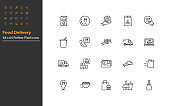 set of food delivery thin line icons, restaurant