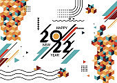 Happy new year 2022 banner with modern geometric. Abstract background in retro style. Happy new year greeting card design for year 2022 calligraphy. Year of the Tiger 2022. Vector illustration.