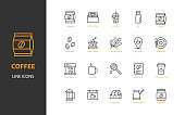 set of coffee thin line icon, drinks, cafe