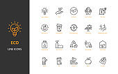 set of eco environment thin line icons, natural, green power, save the world