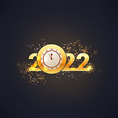 Greeting card Happy New Year 2022. Beautiful holiday web banner or billboard with text Happy New Year 2022. 2022 year of the tiger. - Vector
