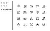 set of business people thin line icons, meeting, teamwork